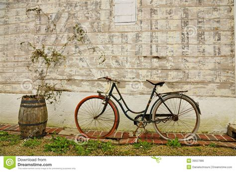 old vintage images vintage french bicycle and wine barrel stock photo image