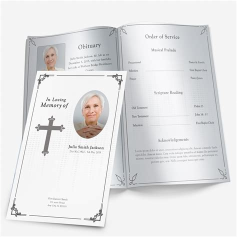 funeral service sheet template traditional cross funeral phlets