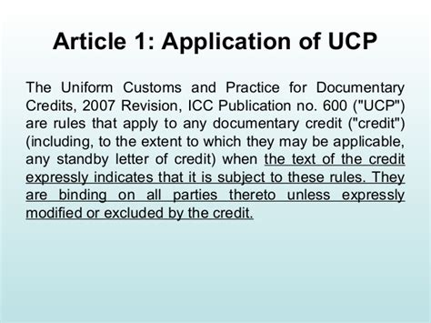 Letter Of Credit Ucp 600 Ucp 600