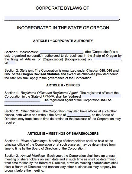 Free Oregon Corporate Bylaws Template Pdf Word Articles Of Organization Oregon Template