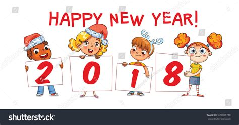 new year card for preschool children holding poster signature 2018 merry stock vector