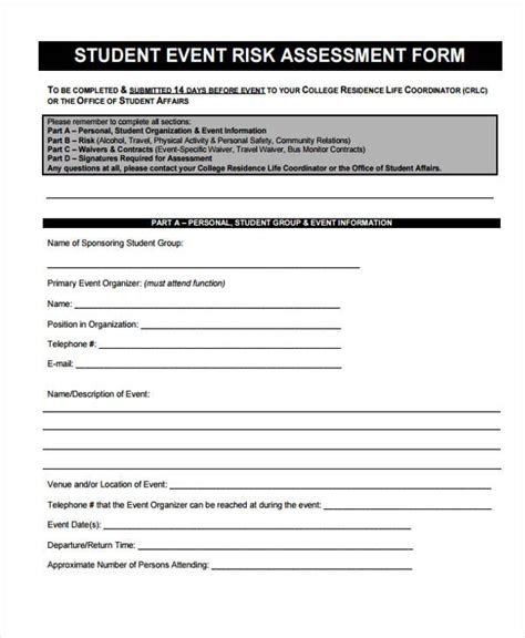 student risk assessment template 36 sle risk assessment form