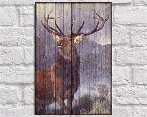 title stag print rustic home decor wood wall art