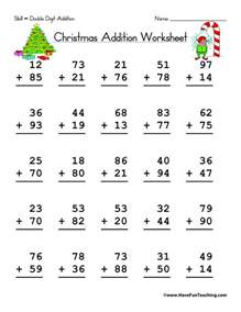 christmas double digit addition worksheet have fun teaching