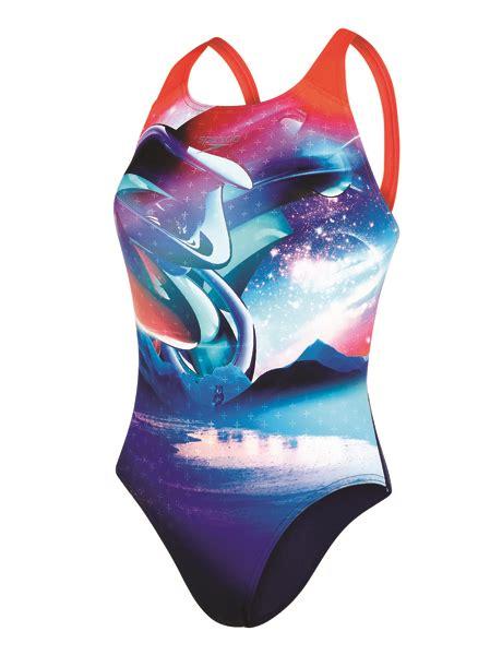 Solar Swimsuit To Power Gizmos by Speedo Solar Surface Powerback Swimsuit Dolphin