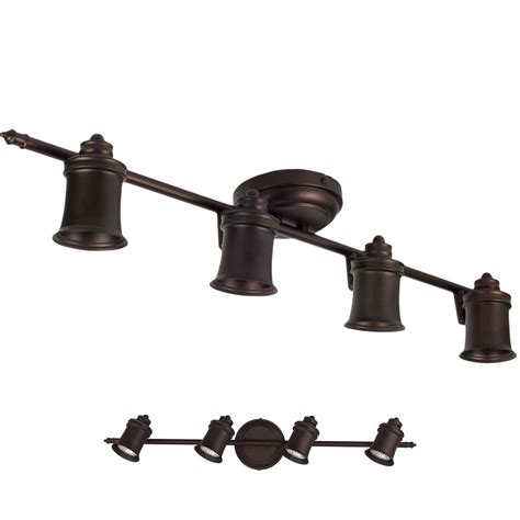 4 Bulb Ceiling Light Fixture Rubbed Bronze 4 Light Track Lighting Ceiling Or Wall Fixture Interior Ebay