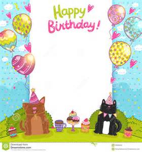 happy birthday background with a cat dog stock vector