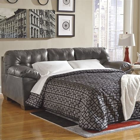 Grey Leather Sleeper Sofa Bowery Hill Leather Sleeper Sofa In Gray Bh 524549