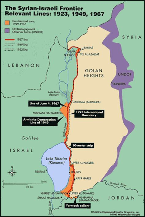 middle east map golan heights the line of june 4 1967