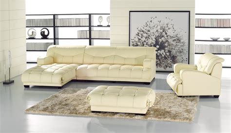 ivory leather sofa set violetta ivory leather modern sectional set with chair