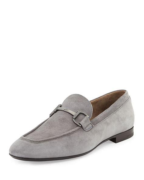 suede bit loafers ermenegildo zegna suede bit loafer in gray for