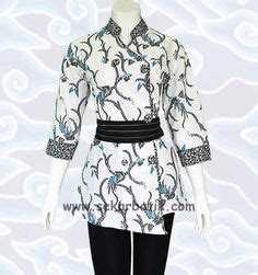 Blouse Spandek Heaven Combi Putih M blus batik bm133 http senandung net blus batik wanita modern baju atasan blus batik