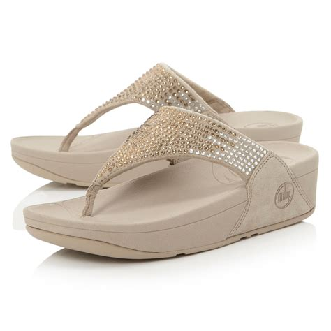 Sequined Wedge Sandal by Fitflop Flare Sequin T Post Wedge Sandals In Metallic Lyst