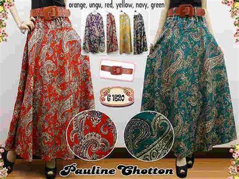 Rok Panjang Katun Rayon Rok Maxi Payung Lebar Bunga Miring Ungu rok batik pauline cotton rb221