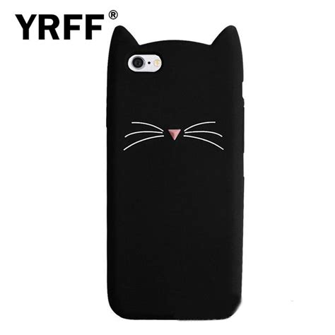 Iphone 6 Plus Soft 3d Cat Ears Sarung Casing yrff new 3d black beard cat ears soft silicone for iphone 5 5s se rubber coque