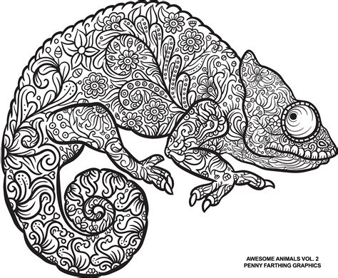 coloring pages for adults chameleon lizard from awesome animals vol 2 quot coloring books