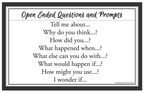 open ended questions simply preschool