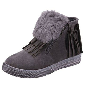 Winter Shoes Top Shoes With Fringe Tassels And Ruffles by Winter Warm Flat Tassel Fringe Fur Ankle Boots