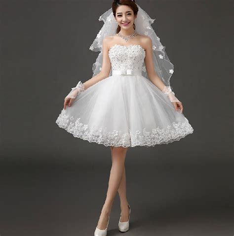 With Veil Gloves Short Style Wedding Dress Women's Dress