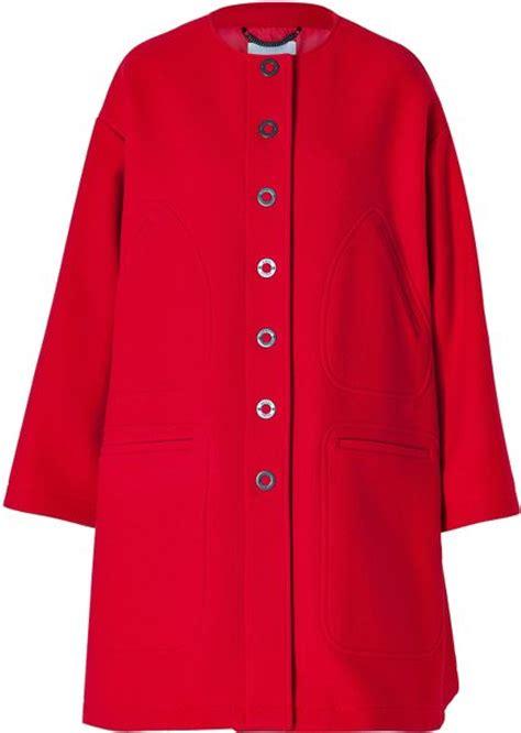 red wool swing coat kenzo wool blend a line swing coat in red lyst