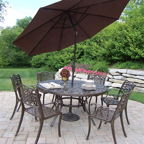 Patio Umbrella Set Patio Sets With Umbrella Oakland Living Cascade Patio Dining Set With Umbrella And Stand Patio