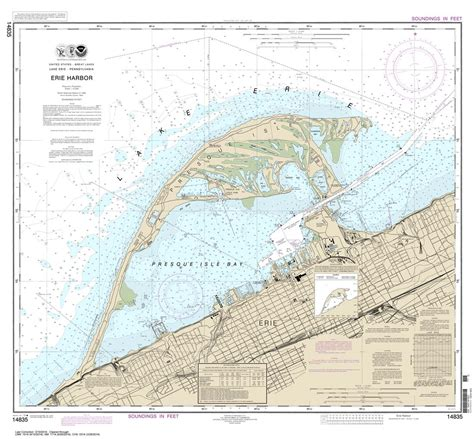 printable map erie pa themapstore noaa charts great lakes lake erie 14835
