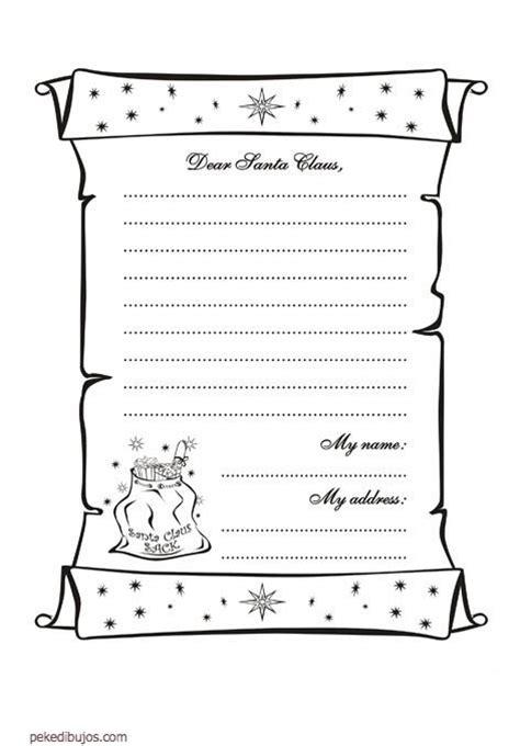 imagenes de cartas a santa claus dibujos de carta a santa claus para colorear