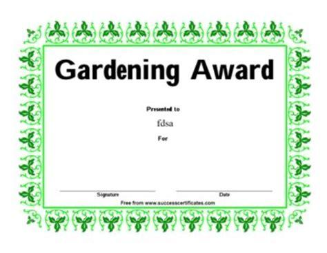 certificate for gardening gardening award certificate templates teachers