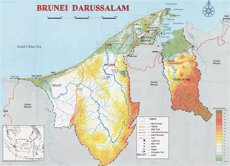 brunei on the world map maps of brunei detailed map of brunei in