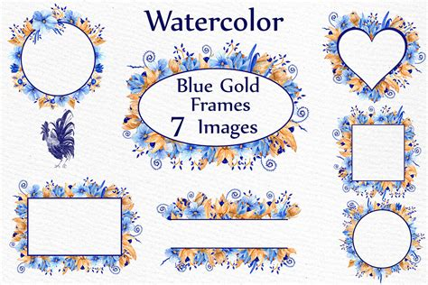blue gold floral frames clipart watercolor clipart wedding invitation graphic by lecoqdesign
