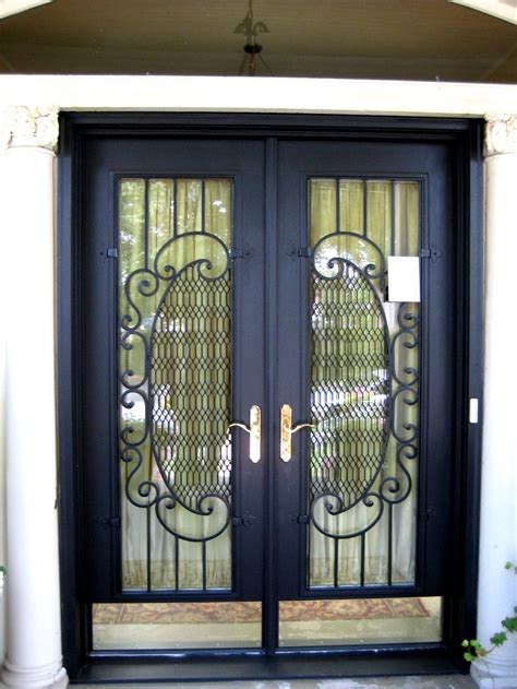 panels security door  black frame  crafted glass