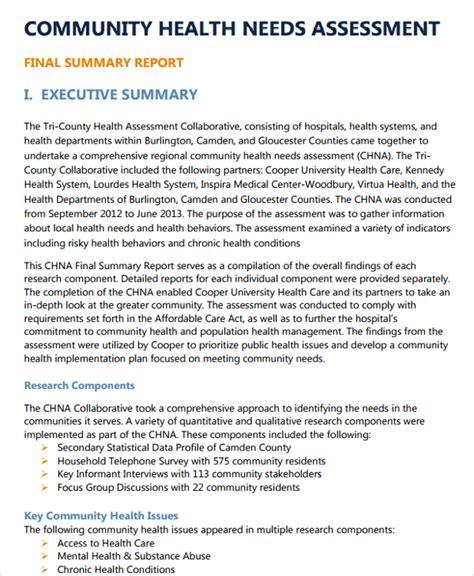 36 Needs Assessments Exles Sles Community Health Assessment Template