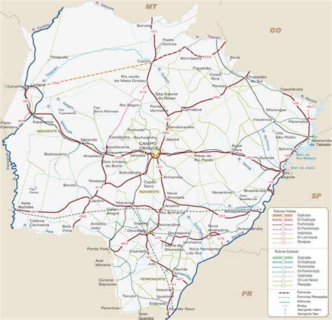 mapa de carreteras de 8499358500 mapa de autov 237 as en mato grosso do sul mapacarreteras org