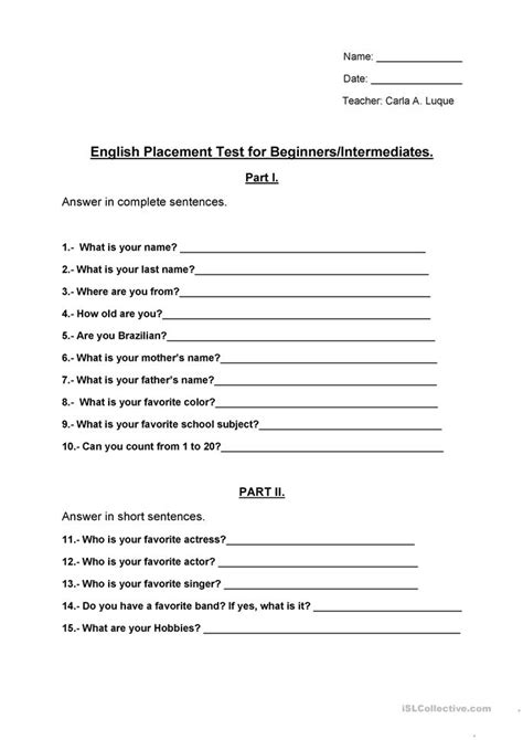 printable free english tests placement test for basic 1 level worksheet free esl
