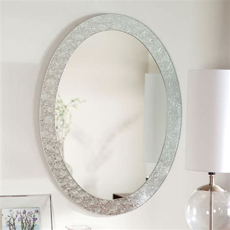 oval frameless bathroom vanity wall mirror with elegant