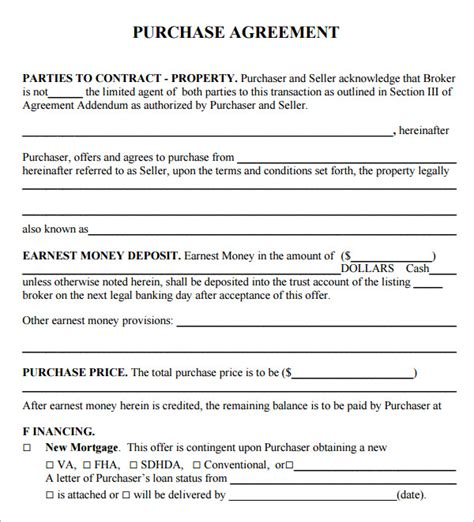 home purchase agreement template purchase agreement free document sle for buying or
