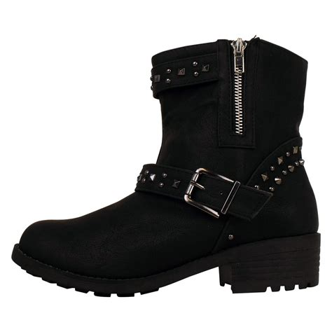 cowboy ankle boots womens new cowboy western black boot smart faux leather