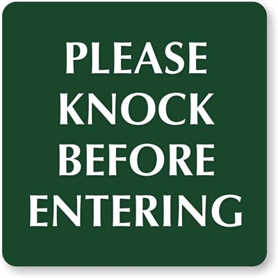 Knock The Door Sign by Knock Signs From Mydoorsign