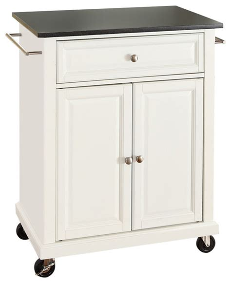 White Kitchen Island Cart Fastfurnishings White Kitchen Cart With Granite Top And Locking Casters Wheels Kitchen Islands