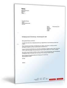 Musterbrief Für Kündigung Einer Versicherung K 252 Ndigung Einer Versicherung Muster Vorlage Zum