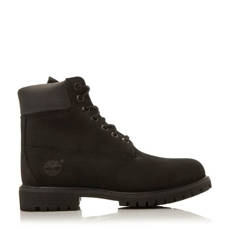 black timberland boots mens timberland classic nubuck worker boots in black for lyst