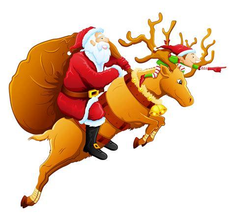 santa with reindeer clipart best