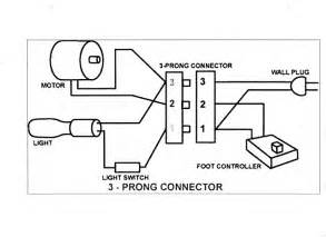generic wiring diagram for the motor light power cord and controller misc sewing machine
