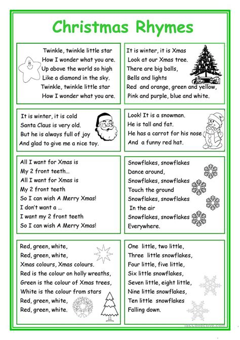 christmas rhymes worksheet free esl printable worksheets