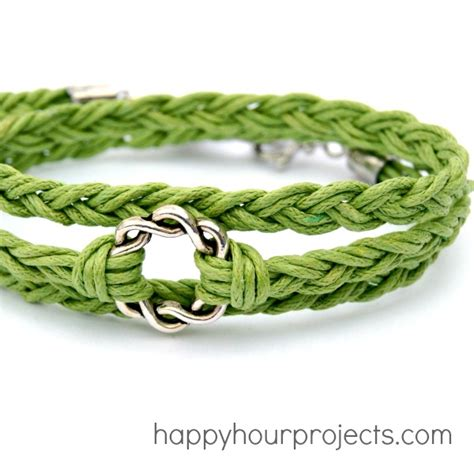 Hemp String Patterns - easy woven wrap bracelet happy hour projects