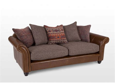 Sofa With Leather And Fabric Sofas Gt Leather Sofas Gt 4 Seater Brown Fabric And Leather Pillow Leather And Fabric Sofa In Sofa