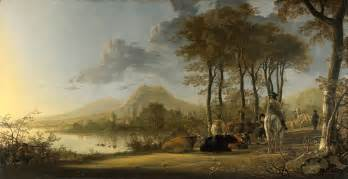 landscape painters river landscape with horseman and peasants by aelbert cuyp
