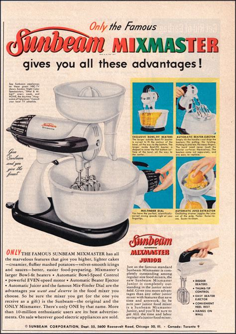 kitchen ads sunbeam mixmaster vintage ad from 1954 1950 s kitchen