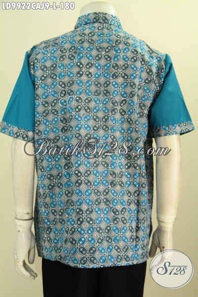 Baju Kemeja Pria Lengan Pendek 3161 Biru Motif Lengkung Slimfit High busana batik warna biru size l lengan pendek motif klasik baju batik pria kombinasi kain polos