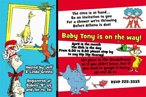 Baby Shower Order Of Events by Dr Seuss Event Baby Shower Invitations
